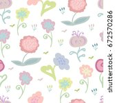 seamless pattern with simple... | Shutterstock .eps vector #672570286