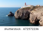 the lighthouse in cabo da roca  ... | Shutterstock . vector #672572236