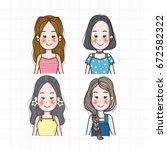 woman doodles vector... | Shutterstock .eps vector #672582322