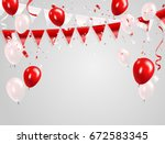 Red White Balloons  Confetti...