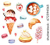 watercolor sweets collection...   Shutterstock . vector #672594565