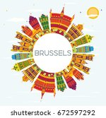 brussels skyline with color... | Shutterstock .eps vector #672597292