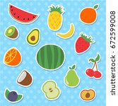 set of flat hand drawn  fruits... | Shutterstock .eps vector #672599008