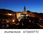 cesky kromlov in nights   czech ... | Shutterstock . vector #672603772