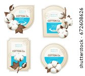 realistic cotton emblem package ... | Shutterstock .eps vector #672608626