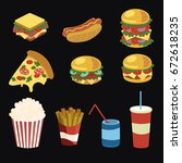 vector set of fast food.... | Shutterstock .eps vector #672618235