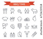 bbq and grill icons  thin line... | Shutterstock .eps vector #672623518