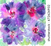 hand painted watercolor floral... | Shutterstock . vector #672626932