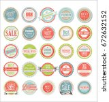 retro colorful badges and... | Shutterstock .eps vector #672632152
