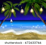 palm trees at night | Shutterstock .eps vector #672633766