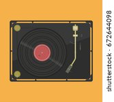 vinyl player with a vinyl disk. ...   Shutterstock .eps vector #672644098