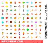 100 sushi bar icons set in... | Shutterstock . vector #672645586