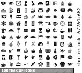 100 tea cup icons set in simple ... | Shutterstock . vector #672645682