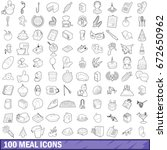 100 meal icons set in outline...   Shutterstock . vector #672650962