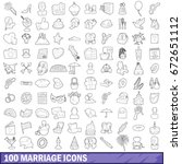 100 marriage icons set in... | Shutterstock . vector #672651112