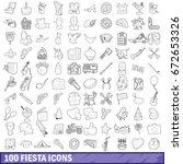 100 fiesta icons set in outline ...   Shutterstock . vector #672653326