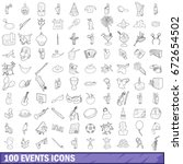 100 events icons set in outline ... | Shutterstock . vector #672654502