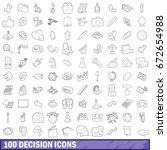100 decision icons set in... | Shutterstock . vector #672654988