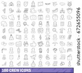 100 crew icons set in outline... | Shutterstock . vector #672655096