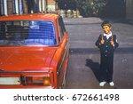 ussr  leningrad   circa 1982 ... | Shutterstock . vector #672661498