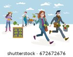 a man and a woman carrying... | Shutterstock .eps vector #672672676