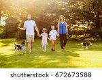portrait of cheerful caucasian... | Shutterstock . vector #672673588