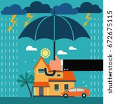 insurance agent with umbrella... | Shutterstock .eps vector #672675115