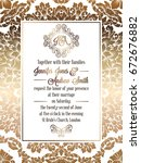 vintage baroque style wedding... | Shutterstock .eps vector #672676882