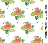 simple pattern with flamingos... | Shutterstock .eps vector #672680506