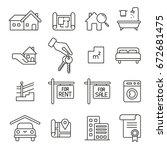 real estate  thin monochrome... | Shutterstock .eps vector #672681475