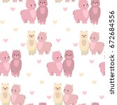seamless pattern with lamas and ...   Shutterstock .eps vector #672684556