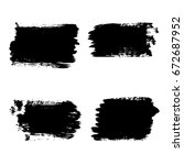 set of black paint  ink brush... | Shutterstock .eps vector #672687952