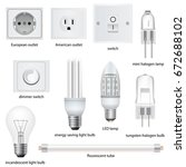 different kinds of outlets ... | Shutterstock .eps vector #672688102