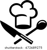 chefs hat with crossed cutlery | Shutterstock .eps vector #672689275