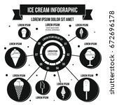 ice cream infographic banner... | Shutterstock . vector #672696178