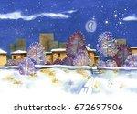 night scene of downtown in... | Shutterstock . vector #672697906