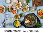 set of healthy vegetarian food  ... | Shutterstock . vector #672701656