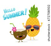 pineapple and coconut... | Shutterstock .eps vector #672708502