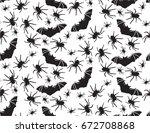 halloween vector seamless... | Shutterstock .eps vector #672708868
