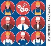 set of flat avatars of men and...   Shutterstock .eps vector #672711082