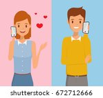 cute young lovers talking with... | Shutterstock .eps vector #672712666