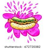 hand drawn watercolor... | Shutterstock . vector #672720382