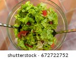 fresh lettuce salads with... | Shutterstock . vector #672722752