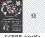 first birthday invitation girl  ... | Shutterstock .eps vector #672725242