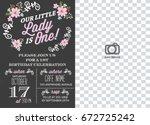 first birthday invitation girl  ... | Shutterstock .eps vector #672725242