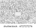 illustration of crowd protest... | Shutterstock .eps vector #672727276