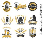 set of craft beer badges with... | Shutterstock .eps vector #672730936