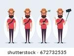 funny cartoon character  ... | Shutterstock .eps vector #672732535