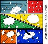 comics pop art style blank... | Shutterstock .eps vector #672736906