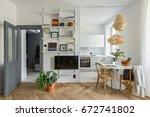 cozy apartment in scandinavian... | Shutterstock . vector #672741802